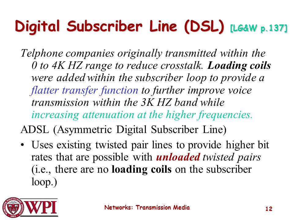 Digital Subscriber Line (DSL) [LG&W p.137]